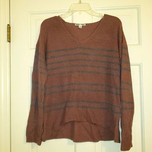 Moral Fiber muave and blue long sleeve sweater, XL
